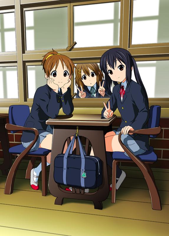 Tags: Anime, Funen Gomi, K-ON!, Hirasawa Ui, Hirasawa Yui, Nakano Azusa, Pixiv, Mobile Wallpaper, Fanart From Pixiv, Fanart