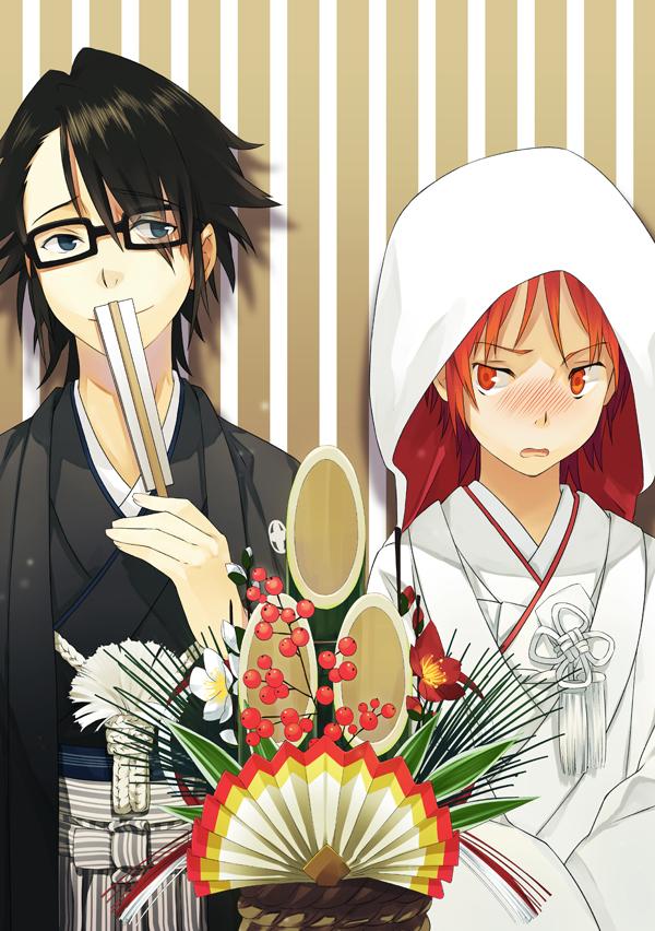 Tags: Anime, Pixiv Id 769995, K Project, Yata Misaki, Fushimi Saruhiko, Shiromuku, Japanese Wedding, Fanart From Pixiv, Pixiv, Fanart, Mobile Wallpaper