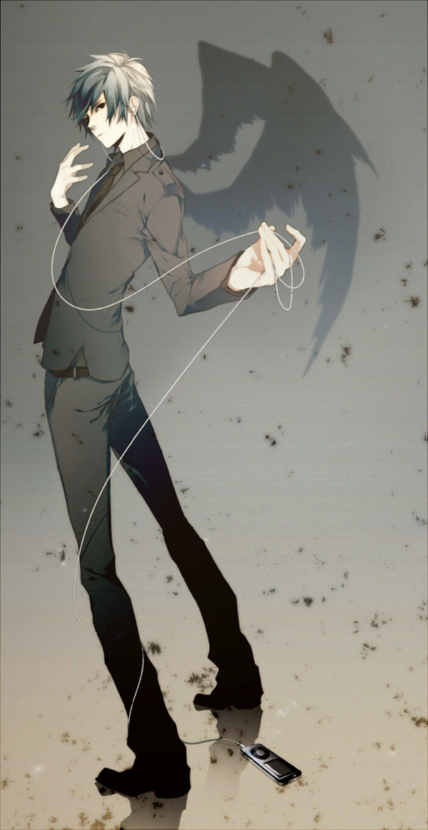 Tags: Anime, Meri-h-shino, Vocaloid, KAITO, Looking Back, Music, Earbuds