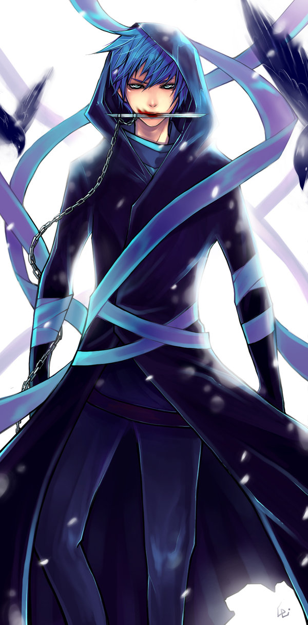 Tags: Anime, UdonNodu, VOCALOID, KAITO, Weapon In Mouth, deviantART, Fanart