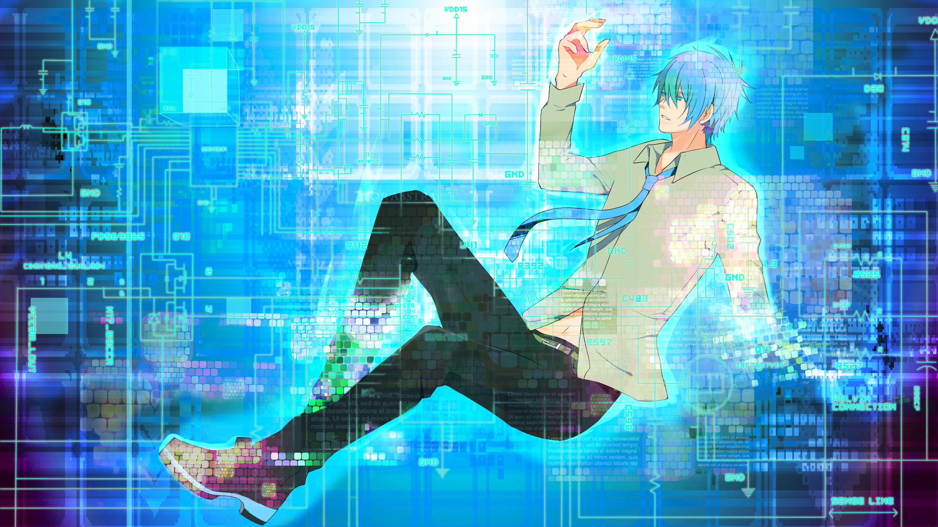 tags anime midorikawa mamoru vocaloid kaito disappearing wallpaper fanart