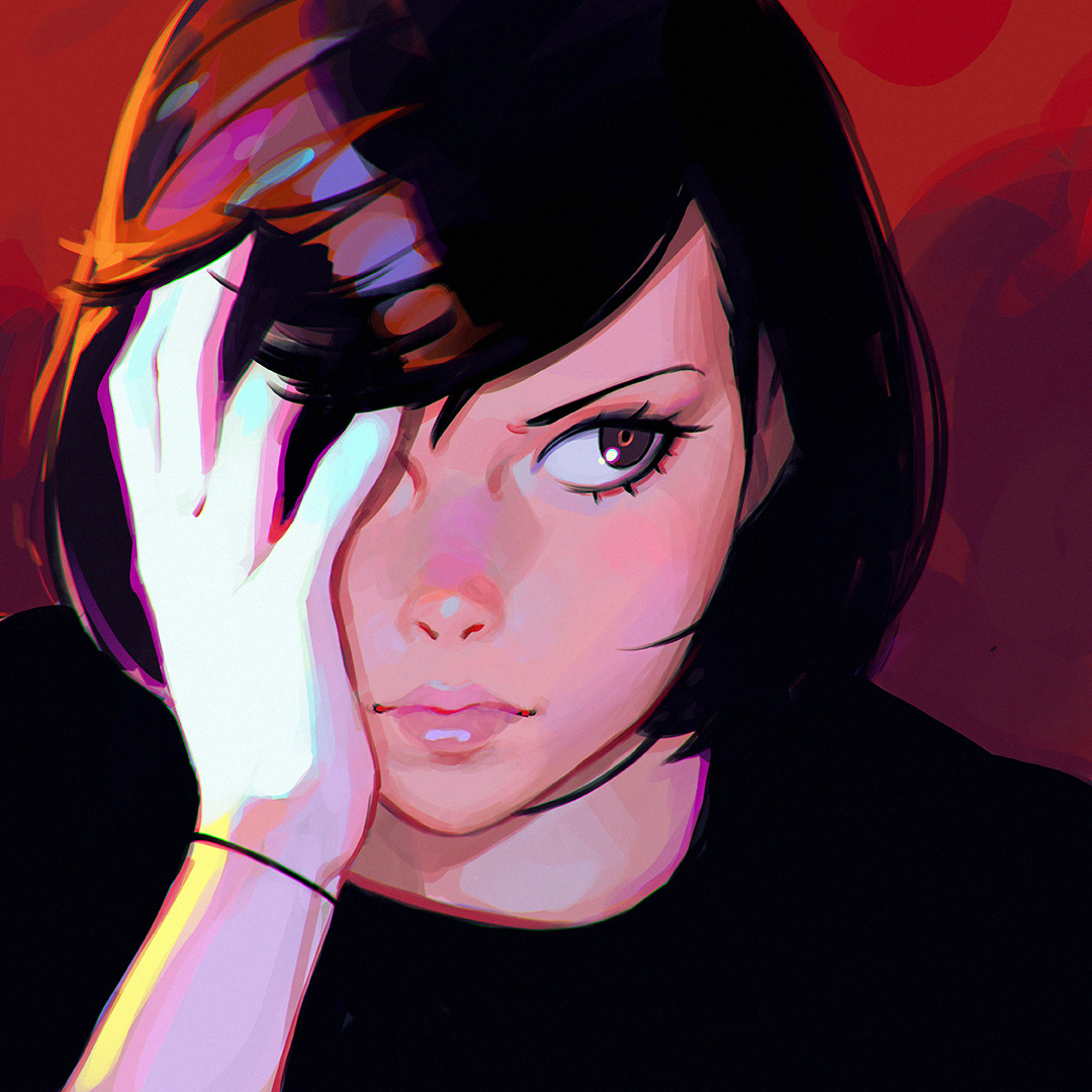Black Hair Red Eye Girl Painting