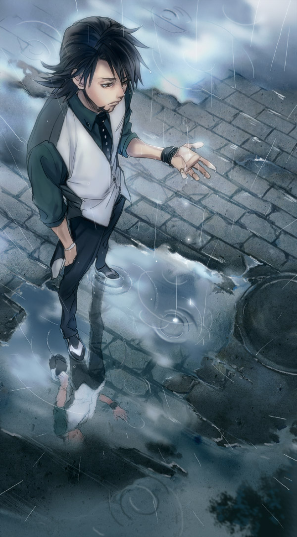 Tags: Anime, P-nekor, TIGER & BUNNY, Kaburagi T. Kotetsu, Puddle, Mobile Wallpaper, Pixiv, Fanart