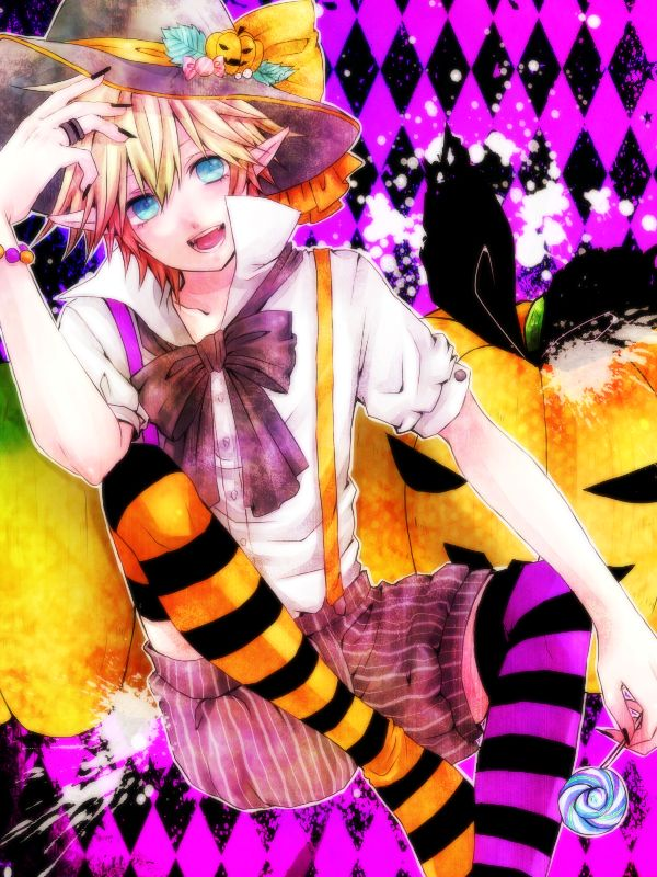Tags: Anime, Pixiv Id 207680, Vocaloid, Kagamine Len, Pumpkin, Striped Legwear, Black Nails