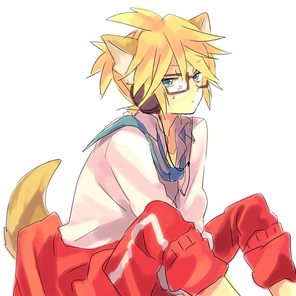 Tags: Anime, Akiyoshi, Project DIVA 2nd, VOCALOID, Kagamine Len, Jacket Around Waist, Track Pants, Project DIVA School Jersey, Len Kagamine