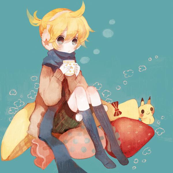 Tags: Anime, Pechika, Pokémon, VOCALOID, Pikachu, Kagamine Len, Pixiv, Len Kagamine