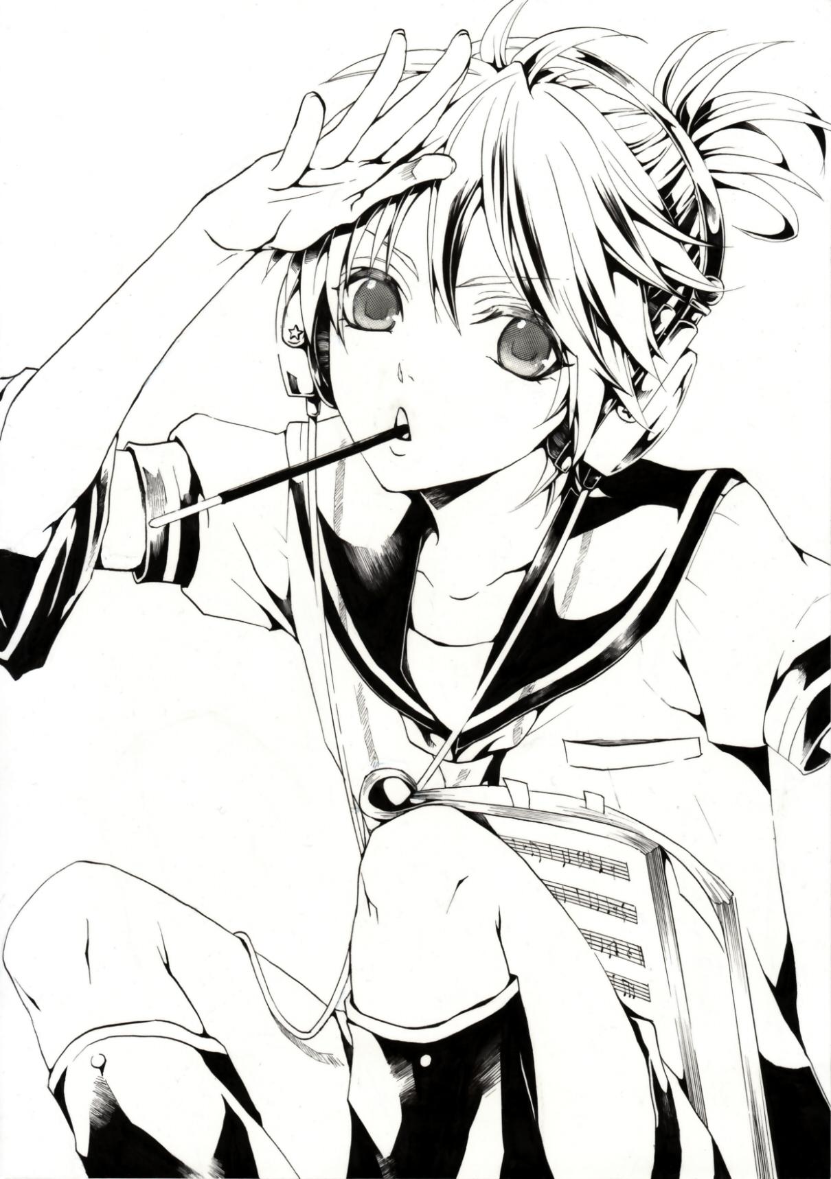 Zerochan Lineart : Kagamine len vocaloid mobile wallpaper
