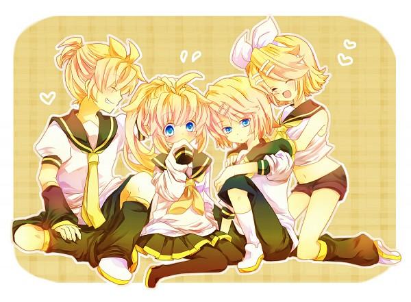 Tags: Anime, Vocaloid, Kagamine Rin, Kagamine Len, Kneeling, Kagamine Rinto, Kagamine Mirrors