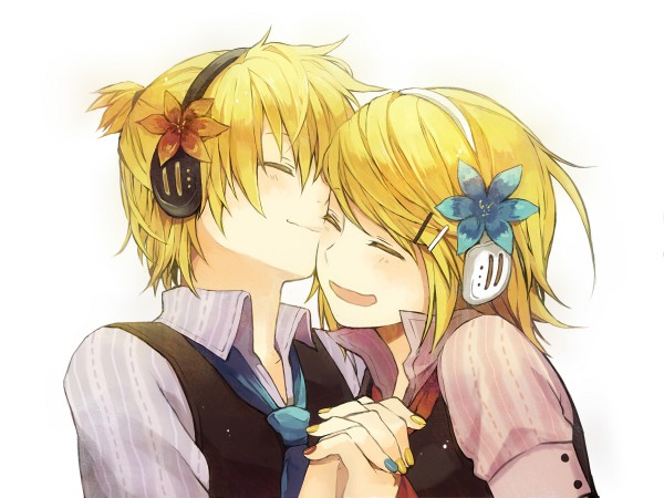 Tags: Anime, Shirataki Naco, VOCALOID, Kagamine Rin, Kagamine Len, Brother And Sister, Kiss On The Cheek