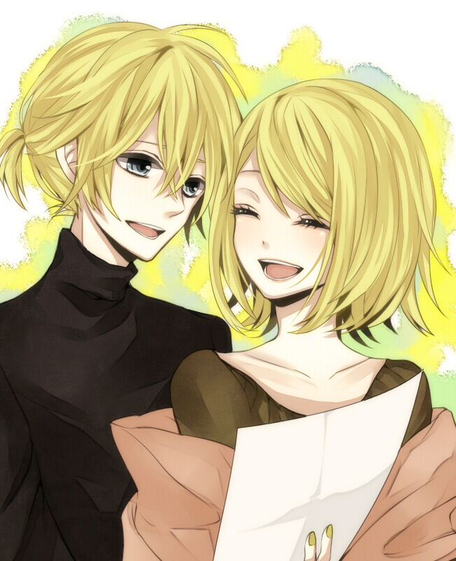 Tags: Anime, Mid1125, VOCALOID, Kagamine Len, Kagamine Rin, Holding Paper, Piapro Illustrated, Fanart From Piapro, Soundless Voice, Fanart, Kagamine Mirrors