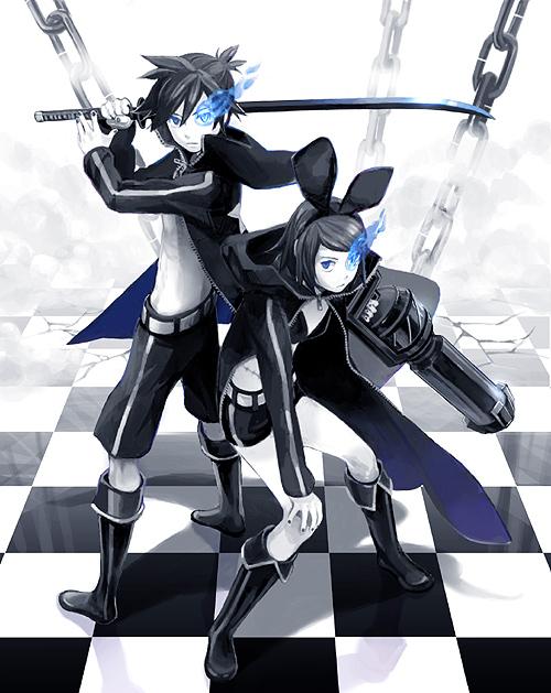 Tags: Anime, Habuki, VOCALOID, Kagamine Len, Kagamine Rin, Black★Rock Shooter (Cosplay), Pixiv, Kagamine Mirrors