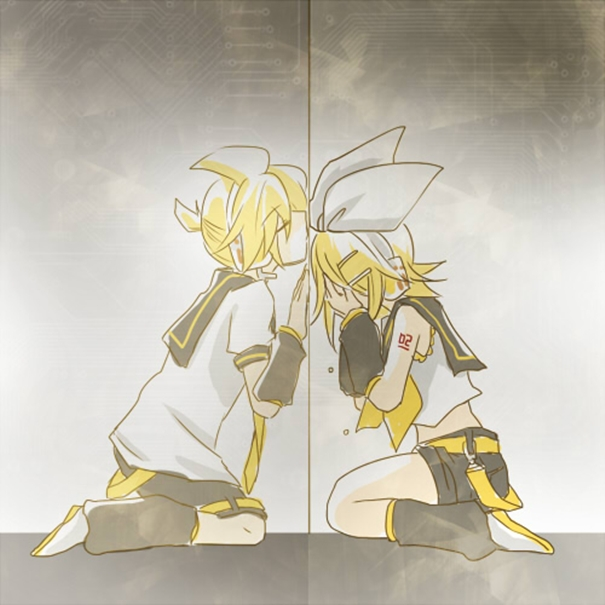 Tags: Anime, Pixiv Id 478134, VOCALOID, Kagamine Len, Kagamine Rin, Seperated, Covered Face, Touching Through Barrier, Kagamine Mirrors
