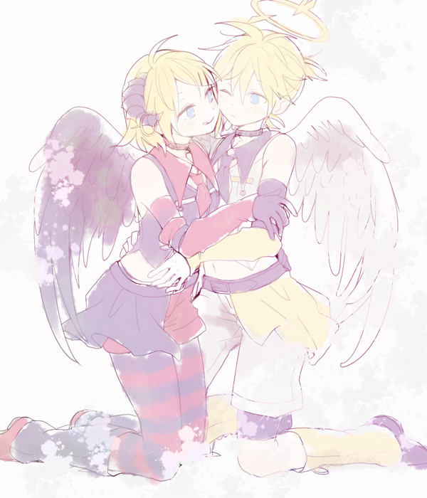 Tags: Anime, Ryou (Pixiv247657), VOCALOID, Kagamine Len, Kagamine Rin, Opposites, Cheeks Together, Pixiv, Fanart, Fanart From Pixiv, Kagamine Mirrors