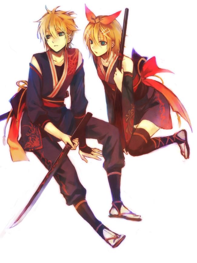 Tags: Anime, Mg (Pixiv4935063), VOCALOID, Kagamine Len, Kagamine Rin, Red Flower, Sandals
