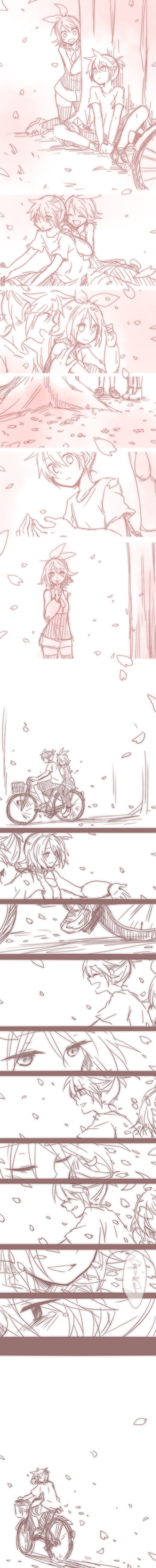 Tags: Anime, Ryou (Pixiv247657), VOCALOID, Kagamine Len, Kagamine Rin, Sad Comic, Text: Thank You, Hand Over One Eye, Sakura Fiction, Comic, Kagamine Mirrors