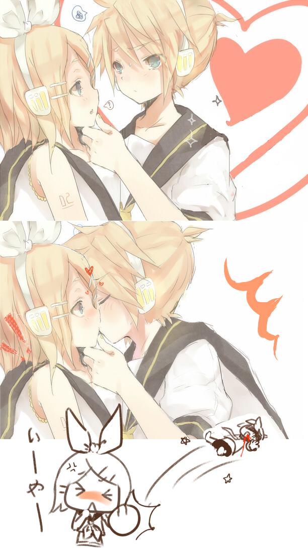 Tags: Anime, 134 (Artist), VOCALOID, Kagamine Len, Kagamine Rin, Pixiv, Mobile Wallpaper, Kagamine Mirrors