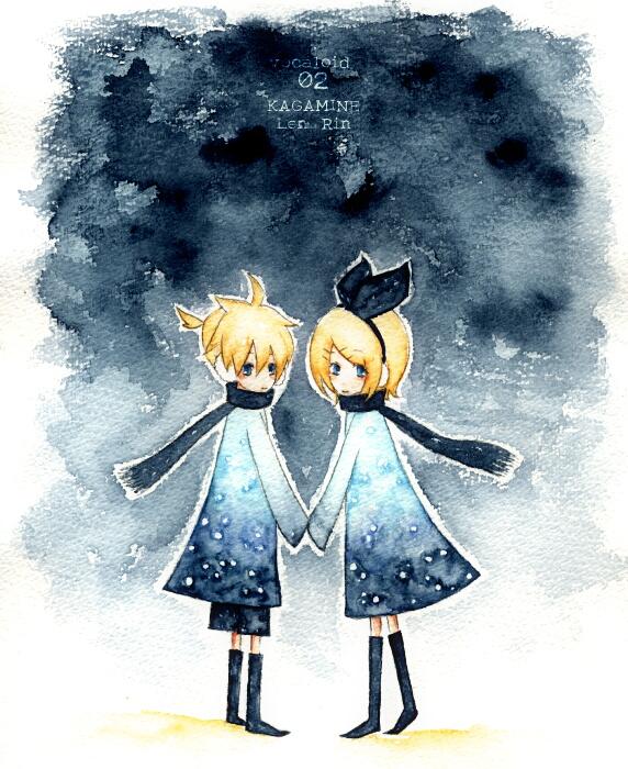 Tags: Anime, Pixiv Id 335350, VOCALOID, Kagamine Len, Kagamine Rin, Watercolor, Traditional Media, Kagamine Mirrors