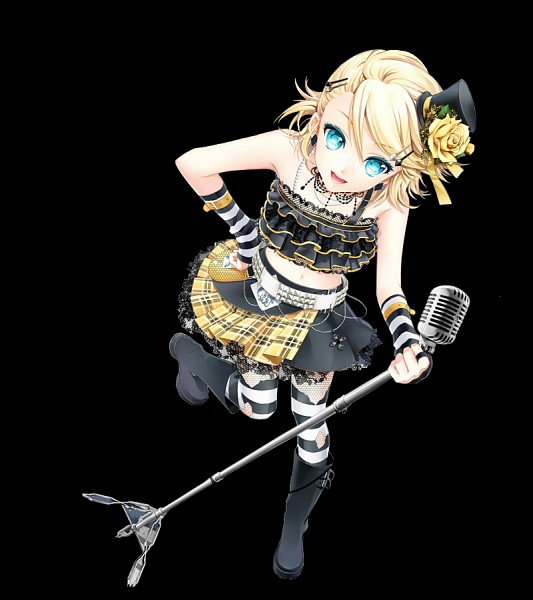 Tags: Anime, Cocoon (Artist), VOCALOID, Kagamine Rin, Yellow Flower, Hand on Hip, Black Background