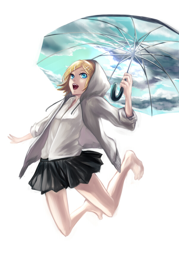 Tags: Anime, Kagrat, VOCALOID, Kagamine Rin, Looking Up, Sky Umbrella