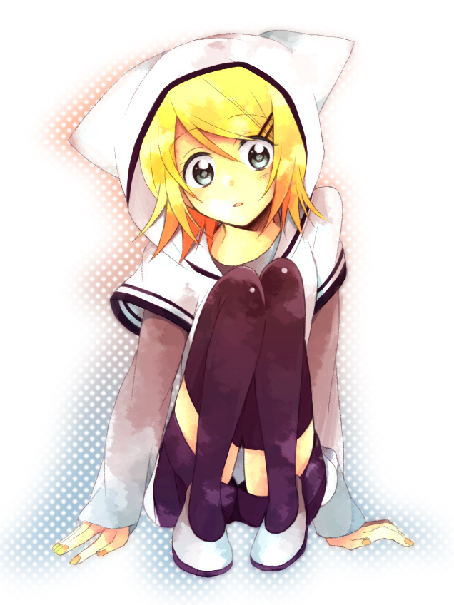 Tags: Anime, Hino (Moca), VOCALOID, Kagamine Rin, Fanart, Watercolor, Pixiv, Rin Kagamine
