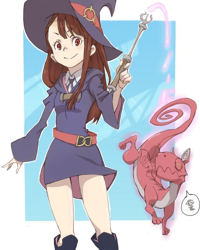 Tags: Anime, Pixiv Id 337974, Little Witch Academia, Kagari Atsuko, Mini Dragon, Fanart From Pixiv, Pixiv, Fanart