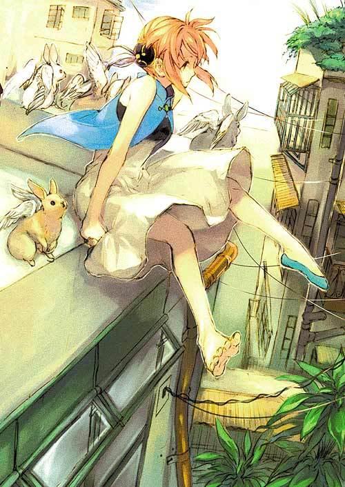 Tags: Anime, Jikayahato, Gintama, Kagura (Gin Tama), Single Shoe, Asymmetrical Footwear, Fanart, Mobile Wallpaper, Pixiv
