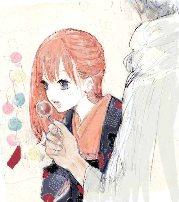 Tags: Anime, Pixiv Id 4277119, Gintama, Kagura (Gin Tama), Sakata Gintoki, Candy Apple, Sketch, Fanart, Revision, Pixiv, Fanart From Pixiv, GinKagu