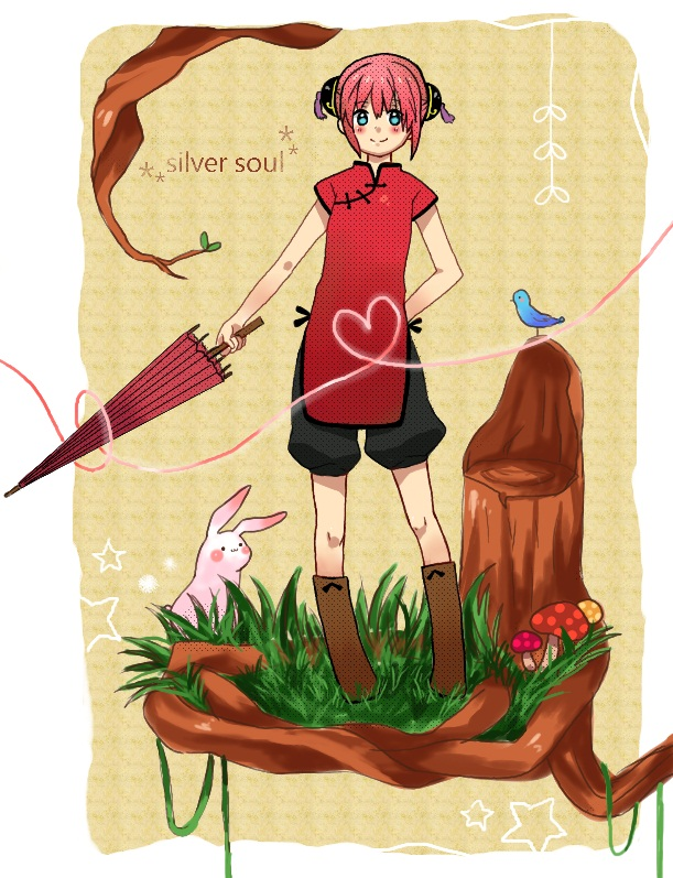 Tags: Anime, Pixiv Id 1249588, Gintama, Kagura (Gin Tama), Tree Stump, Fanart, Pixiv