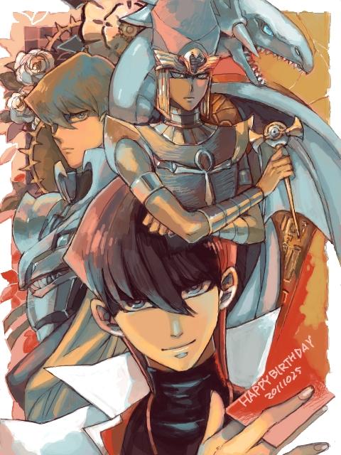 Tags: Anime, Pixiv Id 1105180, Yu-Gi-Oh!, Yu-Gi-Oh! Duel Monsters, Priest Seto, Kaiba Seto, Blue-Eyes White Dragon, Millennium Rod, Pixiv, Fanart, Tegaki, Fanart From Pixiv