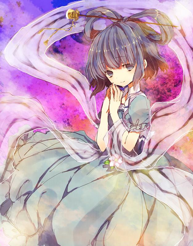 Tags: Anime, Miya (Tsumazukanai), Touhou, Kaku Seiga, Shawl, Abstract Background, Pixiv, Fanart From Pixiv, Fanart, Seiga Kaku