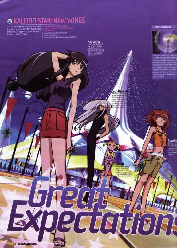 Tags: Anime, GONZO (Studio), Kaleido Star, May Wong, Leon Oswald, Rosetta Passel, Johnathan The Seal, Marion Benigni, Official Art