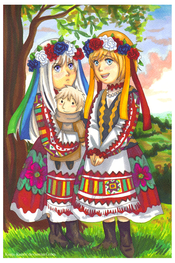 Tags: Anime, Paulina (momofukuu), Axis Powers: Hetalia, Ukraine, Russia, Belarus, Ukrainian Clothes, Kami-kazen, deviantART, Fanart, Allied Forces, Soviet Union