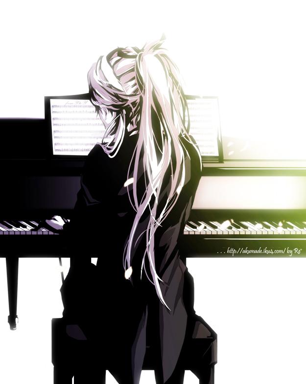 Tags: Anime, Re°, VOCALOID, Kamui Gakupo, Playing Piano, Tailcoat, Sheet Music, Fanart, Pixiv