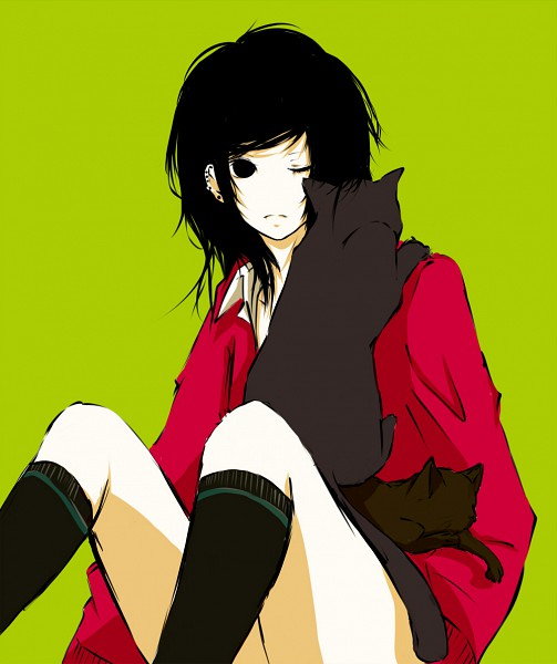 Tags: Anime, Kana (kwbr32), Pixiv Id 3227336, Green Background, Sweater, Knee High Socks