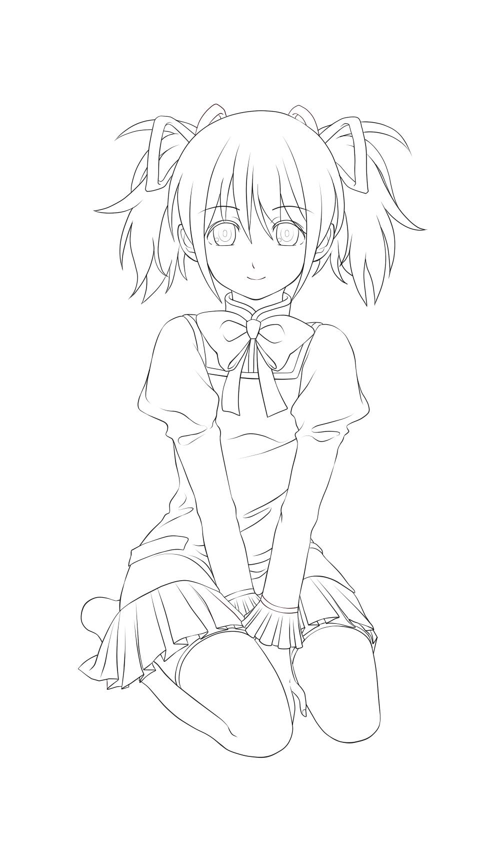 Zerochan Lineart : Kaname madoka mahou shoujo madoka☆magica image