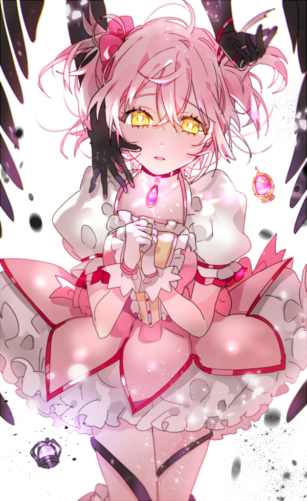 Tags: Anime, Piyo (ppotatto), Mahou Shoujo Madoka☆Magica, Kaname Madoka, Soul Gem, Dark Orb, Puffy Skirt, Fanart, PNG Conversion, Twitter, Mobile Wallpaper, Fanart From Pixiv, Pixiv