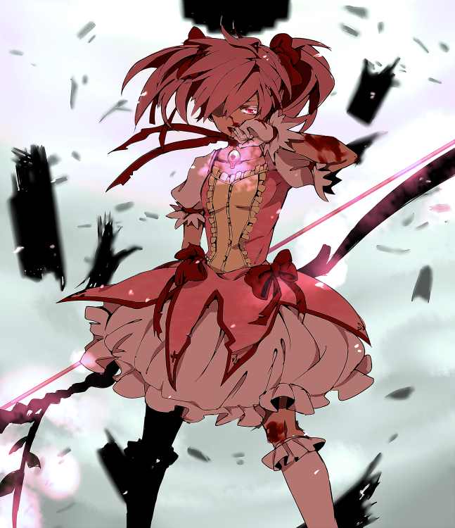 Tags: Anime, Pixiv Id 2910178, Mahou Shoujo Madoka☆Magica, Kaname Madoka, Glowing Weapons, Wiping Face, Scraped Knee, Soul Gem, Destruction, Puffy Skirt, PNG Conversion, Pixiv, Fanart