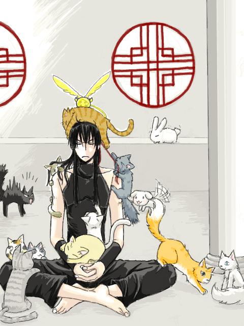 Tags: Anime, Pixiv Id 46644, D.Gray-man, Kanda Yuu, Meditation, Golem, Fanart, Pixiv