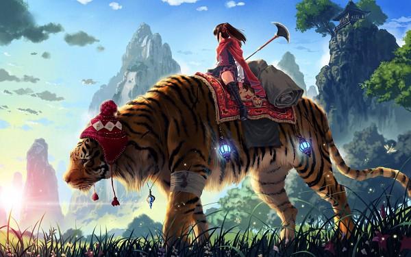 Tags: Anime, Kankurou (Artist), Injury, Big Cat, Nature, Tiger, Widescreen 16:10 Ratio