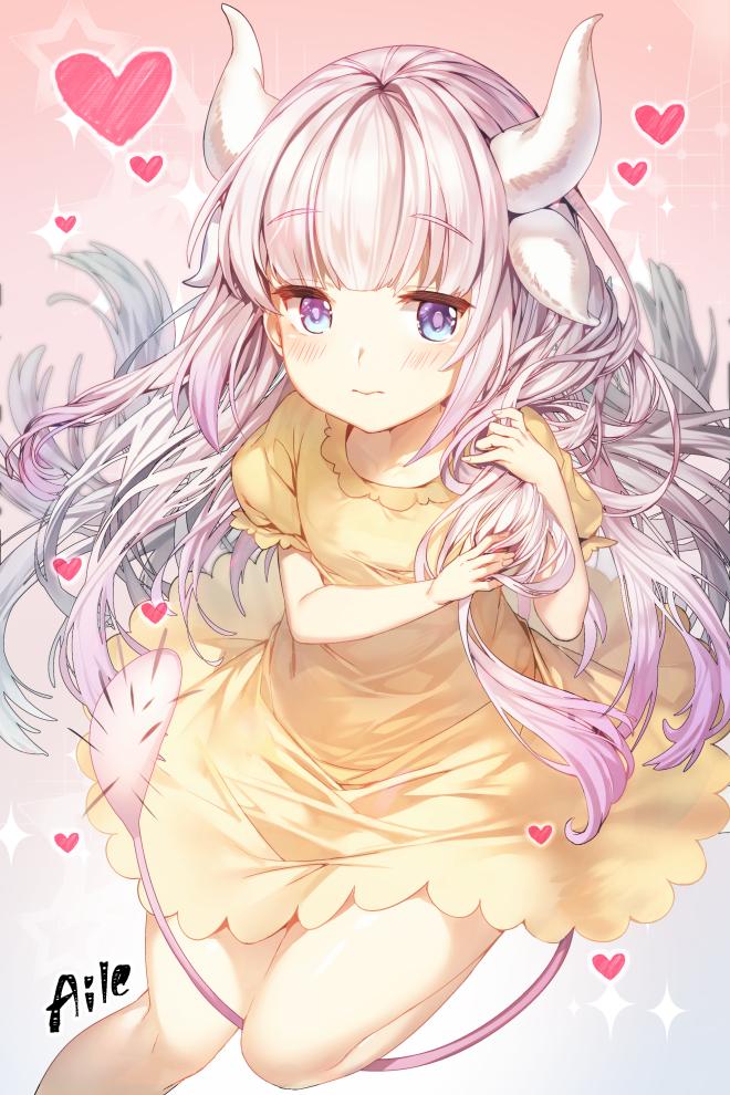 Tags: Anime, Aile (Pixiv946272), Kobayashi-san Chi no Maid Dragon, Kanna Kamui, PNG Conversion, Mobile Wallpaper