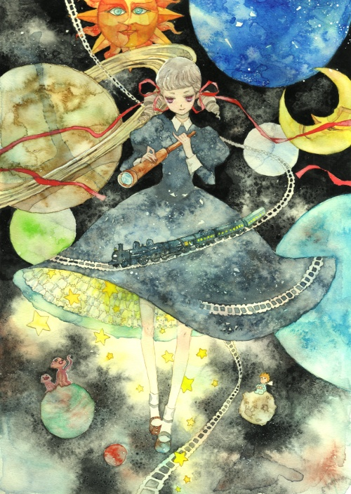 Tags: Anime, Kaoru / 馨, The Little Prince, Planet Jupiter, Saturn, Planet Mercury, Railroad Tracks, Planet Uranus, Planet Venus, Train, Planet Neptune, Alien, Planet Mars