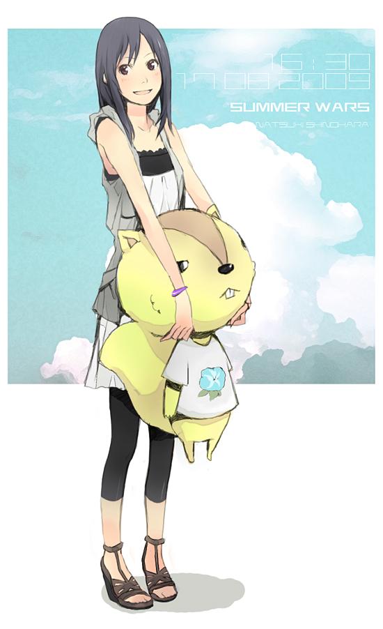 Tags: Anime, Yoshito, Summer Wars, Kari-kenji, Shinohara Natsuki, Squirrel, Leggings, Mobile Wallpaper