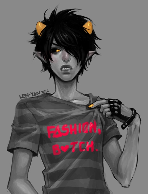 Tags: Anime, Len-yan, Homestuck, Karkat Vantas, Leather Gloves, Fanart From DeviantART, deviantART, Fanart