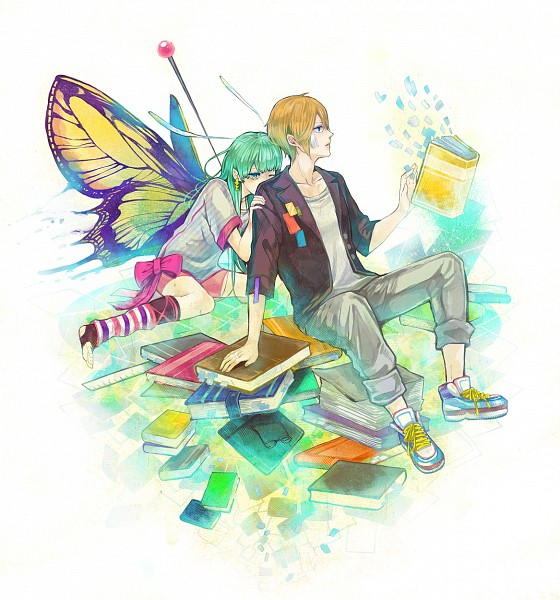 Tags: Anime, Kashiko (Phony), Insect (Personification), Butterfly Wings, Sitting on Floor