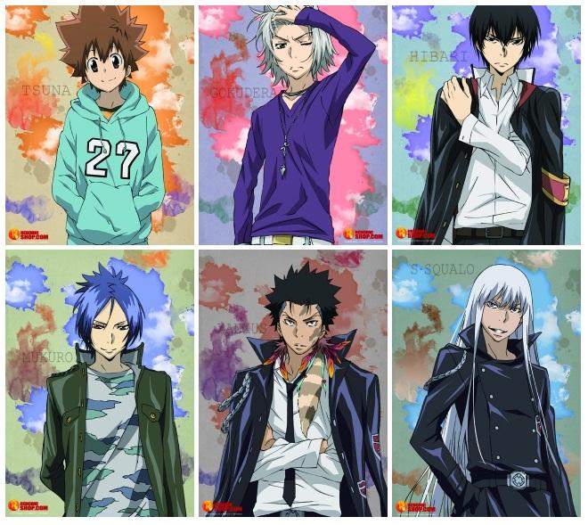 Tags: Anime, Tanaka Masayoshi, Katekyo Hitman REBORN!, Hibari Kyoya, Xanxus, Rokudou Mukuro, Sawada Tsunayoshi, Gokudera Hayato, Superbi Squalo, Official Art