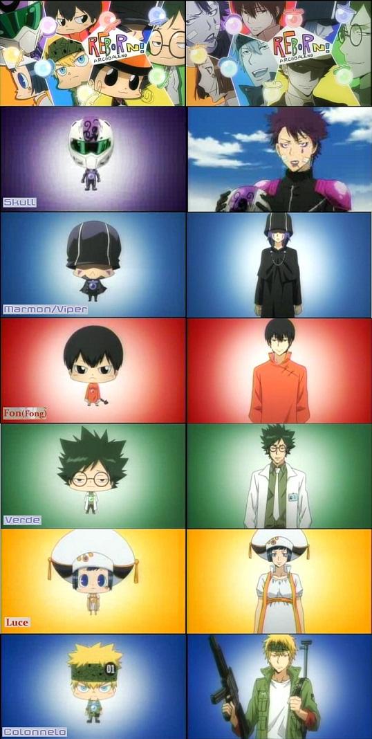 Tags: Anime, Tanaka Masayoshi, Katekyo Hitman REBORN!, Reborn, Colonnello, Luche, Verde, Skull (KHR), Mammon, Fon, Doctor, Screenshot