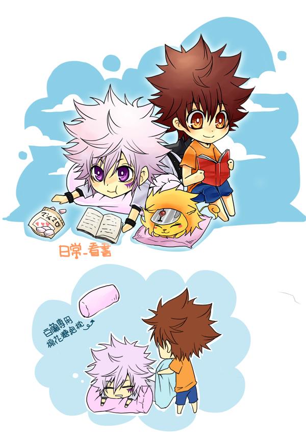Tags: Anime, Katekyo Hitman REBORN!, Sawada Tsunayoshi, Natsu (KHR), Byakuran, Marshmallow, Mobile Wallpaper, Fanart