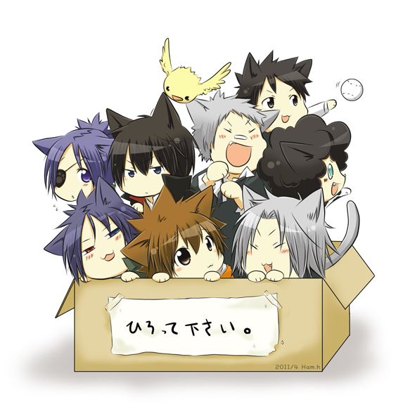 Tags: Anime, Ham, Katekyo Hitman REBORN!, Gokudera Hayato, Sawada Tsunayoshi, Yamamoto Takeshi, Chrome Dokuro, Lambo, Sasagawa Ryohei, Hibari Kyoya, Rokudou Mukuro, Hibird, In a Box