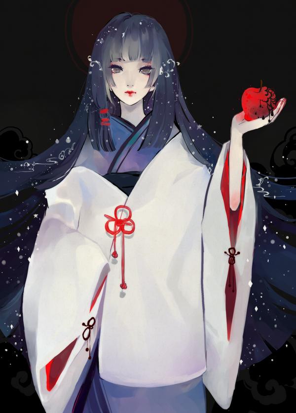 Tags: Anime, Kaytseki, Snow White, Melting, Shiromuku, Dark Colors, Layered Clothes, deviantART, Pixiv, Mobile Wallpaper