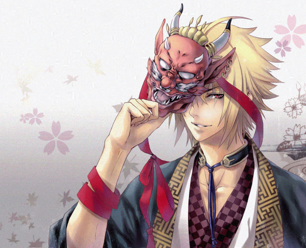 Tags: Anime, Toran, Hakuouki Shinsengumi Kitan, Kazama Chikage, Sayagata, Oni Mask, Pixiv, Fanart